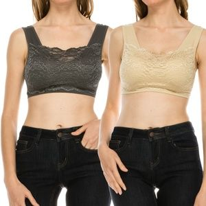 Lace Paded Bra top for women pack of 2